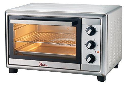 Ardes ar6224x forno elettrico ventilato in acciaio gustavo inox 24 litri con luce interna 6 funzioni cottura doppio vetro con accessori, 1500 w, argento