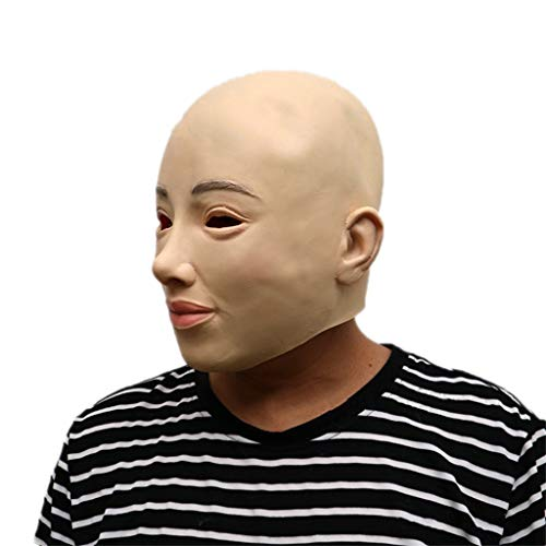 (GXDHOME Halloween Latex Kopf Maske, Horror Bald Simulation Schönheit Kostüm Kostüm Gesicht Scary Teufel Demon Masquerade Bloody Creepy Ghost Zombie)