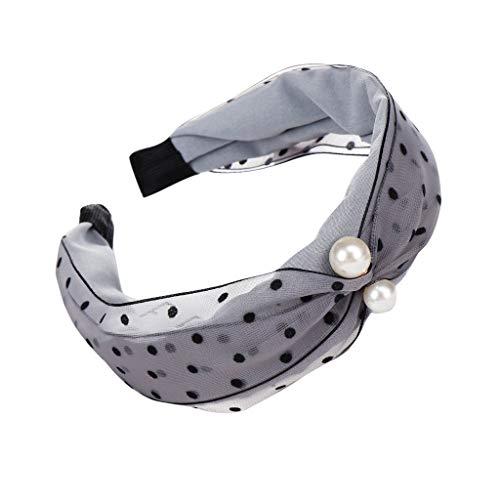 Damen Mesh Dot Print Stirnbänder, TTWOMEN Frauen Pearl Knoten Haarband Yoga Kopf Hoop Haar Zubehör (Grau) -