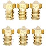 UEETEK Inyector de cobre amarillo de la cabeza de impresora 3D de 6pcs 0,2 mm + 0,3 mm + inyector de cobre amarillo 3 * 0.4 mm + 0,5 mm extrusora de 1,75 mm ABS PLA impresora M6