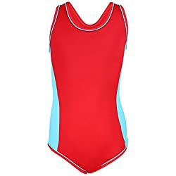 Aquarti Mädchen Badeanzug mit Racerback Sportlich, Farbe: Rot/Blau, Größe: 146