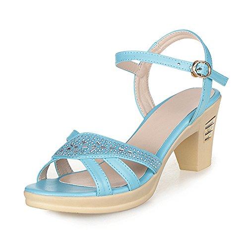 XY&GKSandalen Damen Sommer Ferse Mama's Sandalen aus echtem Leder Größe Middle-Aged Strass Sandaletten High Heel Damen Sandalen, komfortabel und schön 35 blue