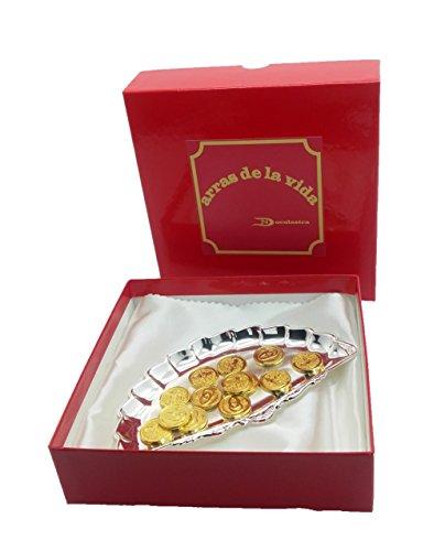 Bandeja de abanico, con arras en color dorado