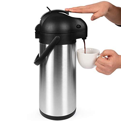 3L Thermoskanne / Pumpkanne / Edelstahl Thermosflasche / Isolierkanne mit 12 Stunden Wärmespeicherung / Thermos Kanne mit 24 Stunden Kältespeicherung / Kaffeekanne / Airpot von Cresimo