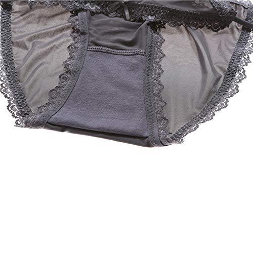 Haodou String mit Spitze Damen Unterhose Polyester Unterwäsche Reizvolle Wäsche durchsichtige Tanga G-Schnur Schlüpfer Damenwäsche Dessous (Dunkelblau-L) - 5