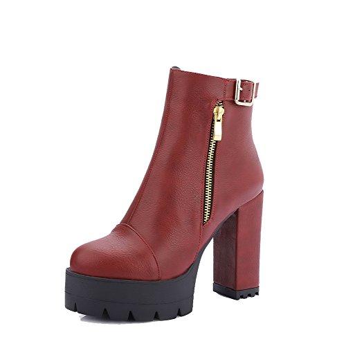 AgooLar Damen Hoher Absatz Quadratisch Zehe Rein Reißverschluss Stiefel, Schwarz, 36