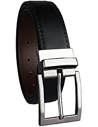 Alfami Men's PU Leather Reversible Belt, Black Brown colour, Formal Casual, Free Size upto 44, Pack of 1 Belt
