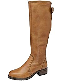 ce6e8fb916 RAVEL Foley Ladies Tan Brown Leather Block Low Heeled Knigh High Boots  Womens Riding Boot Size