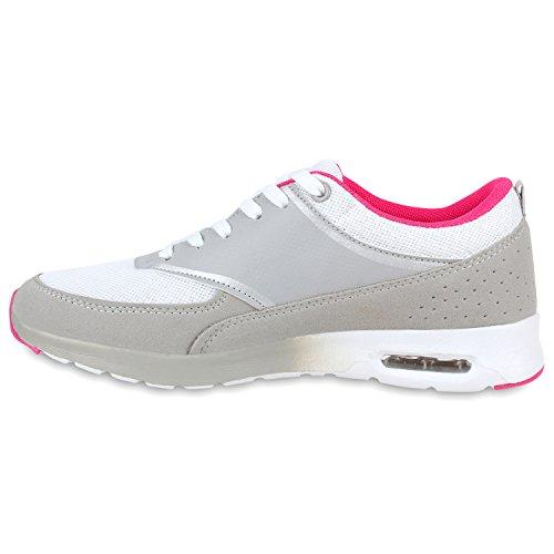 Damen Herren Sportschuhe Runners Laufschuhe Sneakers Neon Weiss Grau Fuchsia