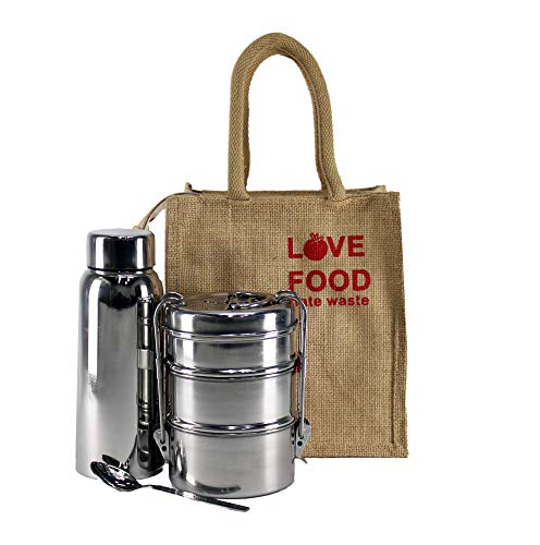 Eco-Trend Jute Lunch Box Set with Stainless Steel Water Bottle 750 ml, Carrier(7×3) and Spoon. (Avoid Plastic containers, Avoid Cancer)