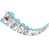 Baby Boys Girls 1st Birthday Bunting Banners Recording 1-12 Month Photo Party Wall Hanging Props Decor (Blue)