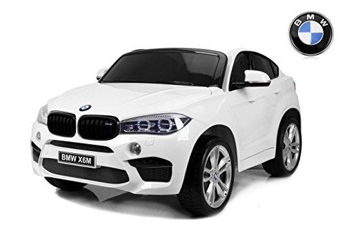 RIRICAR BMW X6 M Coche eléctrico para niños, 2 x 120W, Blanco, Dos Asientos de Cuero, Licencia Original, con Pilas, Puertas de Apertura, Freno eléctrico