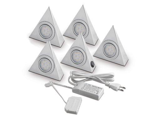 5er SET SO-TECH® LED-Dreieckleuchten Unterbauleuchten mit Zentralschalter Dreiecksleuchten