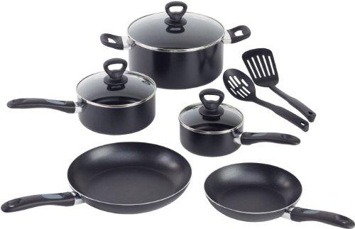 WearEver A801SA Comfort Grip Nonstick Oven Safe Dishwasher Safe PFOA Free Set Cookware, 10-Piece, Black Safe Grip Set
