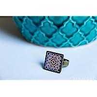 Anello Fotografia di Ceramica e Resina ecologico - Mosaico blu - Gioielli Mosaici dell'Alhambra - regalo originale