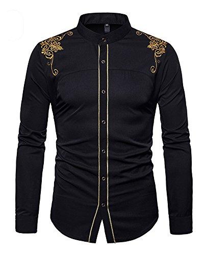 Guocu camicia a maniche lunghe slim in cotone con collo stile ricamo da uomo camicia a maniche lunghe a manica lunga