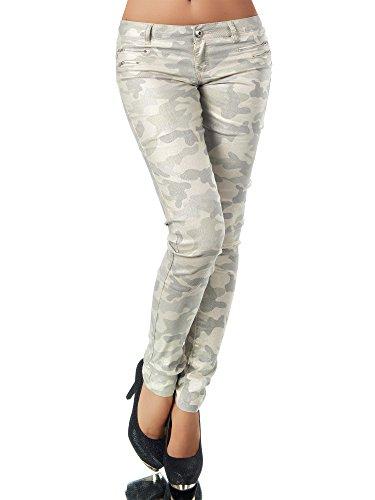 L521 Damen Jeans Hose Hüfthose Damenjeans Hüftjeans Röhrenjeans Leder-Optik, Größen:34 (XS), Farben:Camouflage-Beige