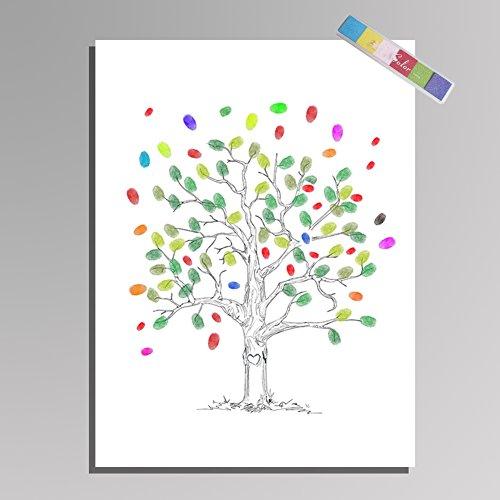 Unternehmen Eröffnungsfeier Klassentreffen Anmeldung Fingerprint Baum Malerei Party Supplies DIY Finger Farbe (Ohne Rahmen)