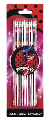 Lady Bug Miraculous- Ladybug Set de 6 lápices Marinette, Color Rosa, 25 cm (SAFTA 311712781)