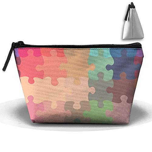 964742abb273 Trapezoid Cosmetic Bags Brush Pouch Puzzle Pattern Makeup Bag Home Office  Travel Cases for Valentine's Day