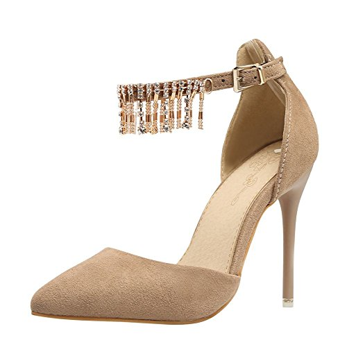 Mee Shoes Damen Stiletto Nubuck ankle strap Pumps Camel
