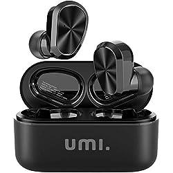 UMI. Essentials - Écouteurs Intra-Auriculaires sans Fil W9 Bluetooth 5.0 TWS (True Wireless) pour iPhone Samsung Huawei avec boîtier de Charge breveté Intelligent(Noir)