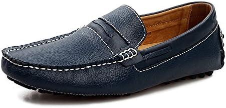 Zapatos Ocasionales Respirables de Cuero Suaves de los Hombres Zapatos Azules Marrones Personalizados de los Mocasines