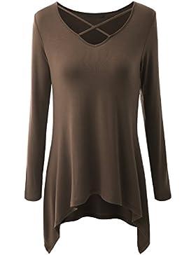 Jusfitsu La Mujer Camiseta Mango Largo Blusa Cuello En V Csasual Elástico Estilo cómodo
