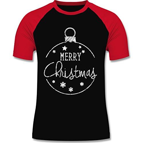 Weihnachten & Silvester - Merry Christmas handgemalt - zweifarbiges Baseballshirt für Männer Schwarz/Rot