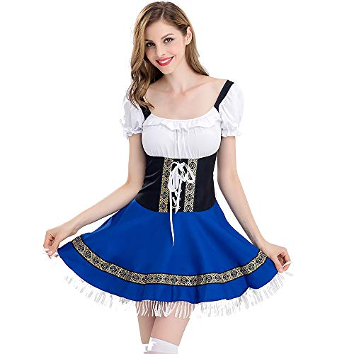 JHY Ladies Blue Beer Maid Oktoberfest Kostüm,S (Cinderella Maid Kostüm)