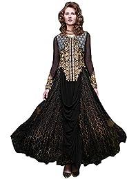 611b4518cc Paridhanlok Beautiful Designer Rasal net Semi Stitched dress Straight  Traditional Gown in Black Color 53958