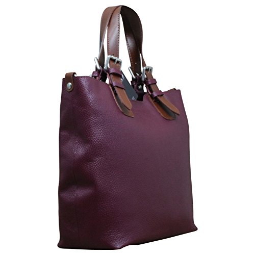 Made in Italy, Borsa a spalla donna Marrone marrone Medio fucsia