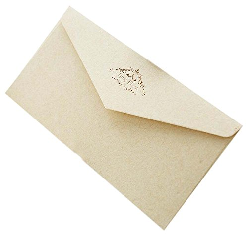 20pcs Retro Beige Einladungsumschläge Kraftpapier Time Flies Grußkarten für Business, Baby Shower, Geburtstag