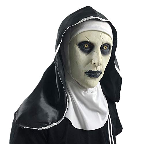 Kostüm Fallen Kopf - YXYXN Halloween Nonne Kostüm für Damen, Die Nonne Horror Maske Cosplay Gruselige Latexmasken mit Kopftuch Schleier Kapuze Integralhelm Horror Kostüm Halloween Prop