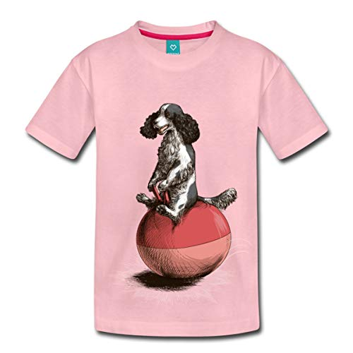 Spreadshirt Cocker Spaniel Hopping On Space Hopper Kids' T-Shirt, 98/104 (2 Years), Rose Shadow