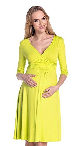 Happy Mama. Damen Umstands A-linie Kleid Skaterkleid Ärmeln 3/4. 282Ap Zitrone