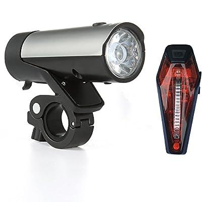 Fahrrad Licht Set, Premium LED Fahrradbeleuchtung ist STVZO USB wiederaufladbar durch Samsung Li-ion Akkus betrieben,1. Wahl von Profis & MTBs zum sicheren Radfahren von Kingsway Infinity.