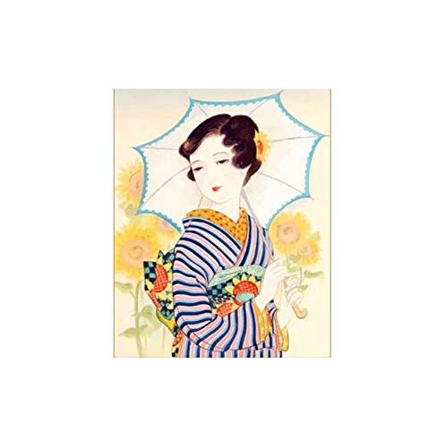 Malen nach Zahlen DIY japanische kostüm Kimono schönheit leinwand handgefertigte Japan wandkunst Bild für wohnkultur Erwachsene 40x50 cm kein Rahmen (Diy Für Kostüm Katze Erwachsene)