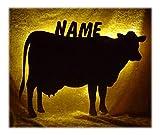 Schlummerlicht24 Led Holz Lampe Nachtlicht Kuh mit Name-n individuelle lustig-e und spaßig-e Deko Geschenk-e für Tiere Bauernhof-Fans für den Stall Wohnzimmer Schlaf-Zimmer