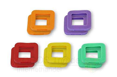 10 Schlüsselkennringe / Schlüsselkennring / Schlüsselkappe (eckig), ca. 25X23mm (10 Stück Farbauswahl 3)