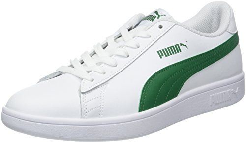 Puma Puma Smash v2 L Scarpe da Ginnastica Basse Unisex - Adulto, Bianco (Puma White-Amazon Green), 43 EU (9 UK)
