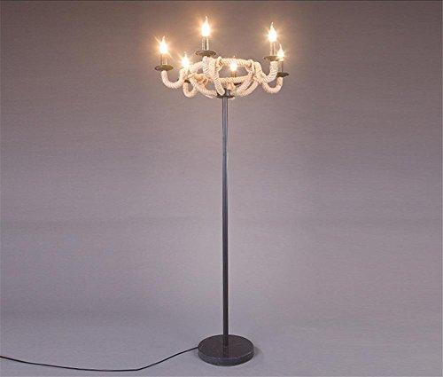BIUODY Lampadari Modern Home marittimo Molo corda da terra di luce della lampada in ferro (Ferro Battuto Tradizionale Lampada Da Terra)