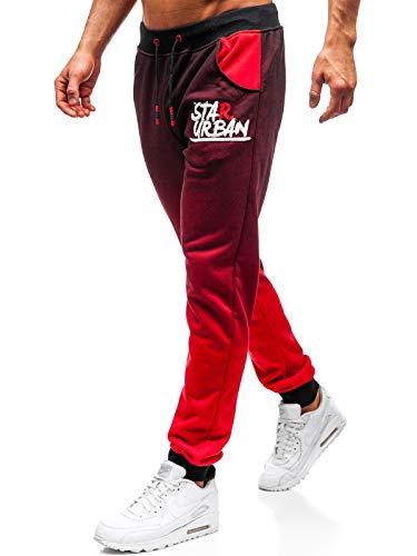 BOLF Herren Sporthose Joggerhose Trainingshose Muster Fitnes Sport Style J.Style AM036 Rot L [6F6]