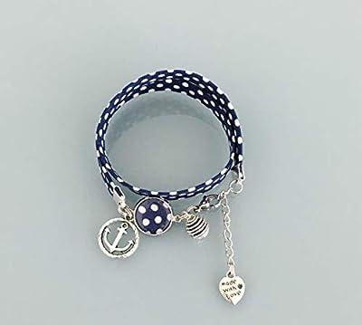 Bracelet Liberty à pois, bijou Liberty, bracelet en tissu liberty, idée cadeau, bracelet parfum, bijou, bracelet bleu et blanc, bijou