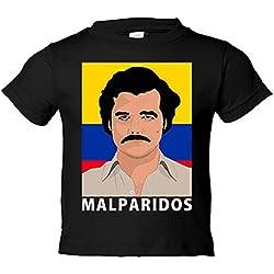 Camiseta niño Narcos Pablo Escobar malparidos - Negro, 12-14 años
