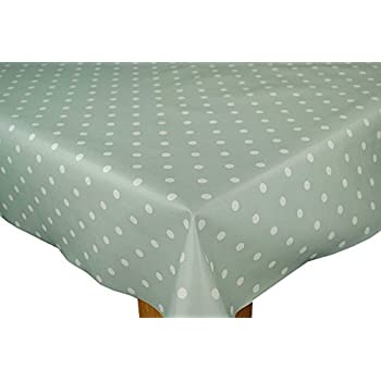 The Tablecloth Shop Duck Egg Polka Dot Vinyl Table Cover