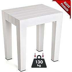 TATAY 4436501 - Banqueta Modelo LOMBOK de Alta Resistencia y Seguridad en Color Blanco, Medidas 38 x 29 x 41 cm