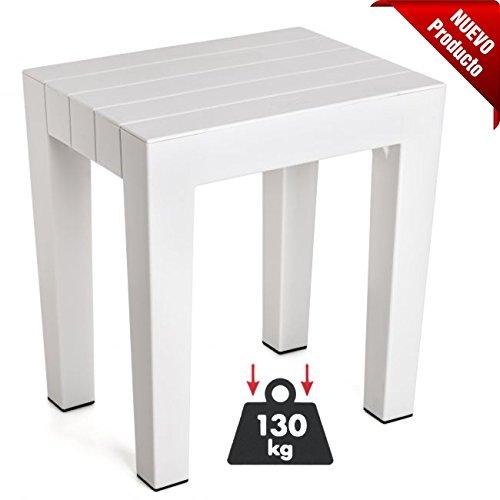 TATAY 44365501 - Hocker LOMBOK, Hohe Festigkeit und Sicherheit in Weiß, Maße 38 x 29 x 41 cm