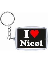 """EXCLUSIVO: Llavero """"I Love Nicol"""" en Negro, una gran idea para un regalo para su pareja, familiares y muchos más! - socios remolques, encantos encantos mochila, bolso, encantos del amor, te, amigos, amantes del amor, accesorio, Amo, Made in Germany."""