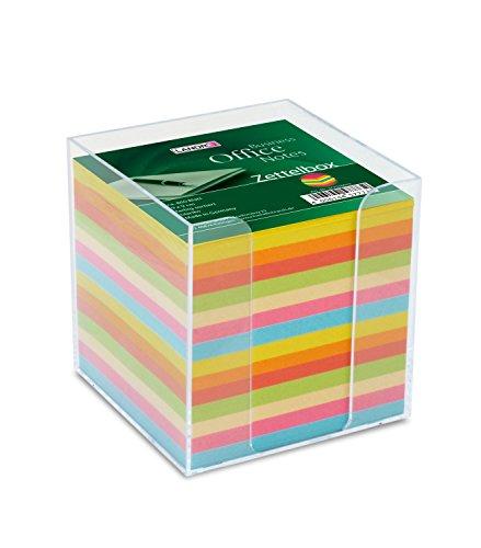 Landre 100420101 Zettelbox klar mit bunten Zettelkasteneinlagen Format 9 x 9 cm, circa 800 Blatt